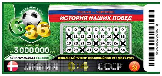 Футбольная лотерея 6 из 36 тираж 49