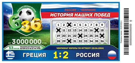 Футбольная лотерея 6 из 36 тираж 53