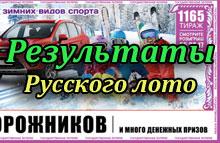 Результаты 1165 тиража лотереи Русское лото