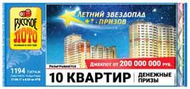 Результаты Русское лото тираж 1194