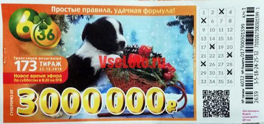 Лотерея 6 из 36 тираж 173 со щенком на санках