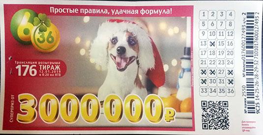 176 старо-новогодний тираж лотереи 6 из 36 с собакой