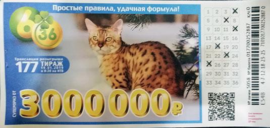 177 тираж лотереи 6 из 36 с рысью