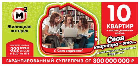 В 322 тираже Жилищной лотереи будут разыграны 10 квартир