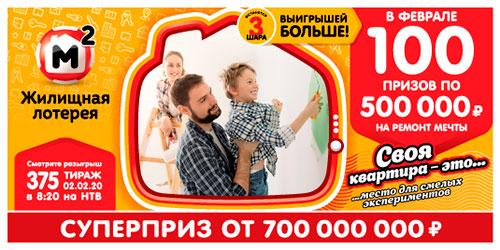 Результаты Жилищной лотереи 375 тиража