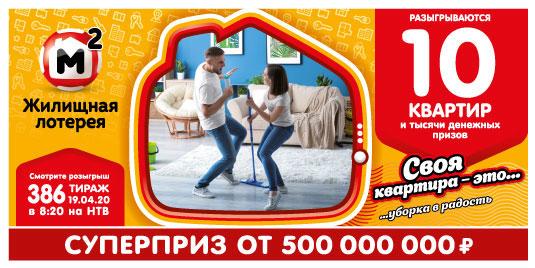 Результаты Жилищной лотереи 386 тиража