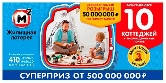 Результаты Жилищной лотереи 410 тиража